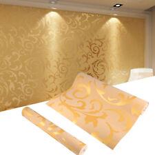 10M Vliestapete 3D Optik Barock Wandtapete Wandbild Rolle Dekoration Gold GB