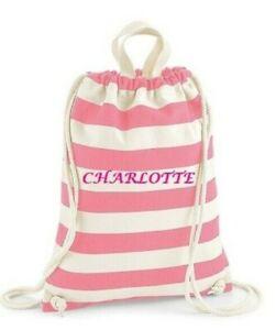Personalised Nautical themed cotton gym sac beach bag - gift