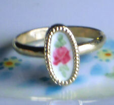 Vintage Ring Guilloche Enamel Rose Handpainted Floral 2 adjustable NOS #1063B
