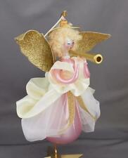Radko Hearald Angel 1998 Italian Ornament 98-068-0 Pink Dress Paper Wings Horn