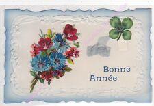 CPA DECOUPIS Bonne année bouquet de fleurs noeud bleu trèfle ca1913