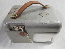 More details for stb vintage pigeon clock in metal case with leather strap & key