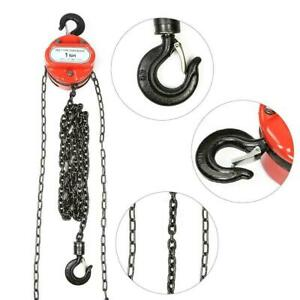 Chain Hoist Block and Tackle 1T Winch Capacity Engine Lift Puller Fall Hook