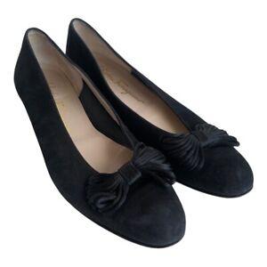 Salvatore Ferragamo Boutique Size 8  Black Loafers Wedges Shoes Suede Leather