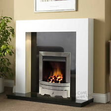 """GAS WHITE SURROUND BLACK GRANITE SILVER FIRE FIREPLACE SUITE LARGE LIGHTS 54"""""""