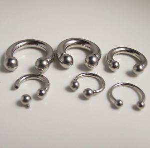 Large Gauge Circular Barbell Horseshoe Bar Lip Nose Septum Ear Ring 1.6mm-10mm