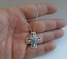 925 STERLING SILVER SQUARE CROSS PENDANT NECKLACE W/  PEARL/TURQUOISE/DIAMOND