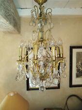 Lustre ancien à pampilles luminaire plafonnier suspension