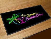 Personalised Bar runner Tropical Cocktail beach neon 80's mat Pub & Clubs