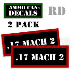 17 MACH 2 Ammo Decals Ammunition Case Labels Can Box Stickers 2 pack RD