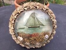 More details for antique-vintage  sailors valentine-folk art-seashell-glass domed diorama-ships