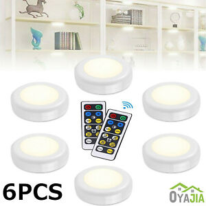 Wireless LED Puck Lights Closet Under Cabinet Lighting With Remote Control 6PK