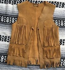 Vintage Girl's Genuine Suede Leather Bohemian Hippie Vest Size 6/7/8