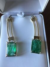 Huge 22+ Carat Natural Zambian Emerald & diamond dangle 14k Gold & SS earrings