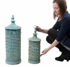 Set of 2 Shabby Chic Medina Morrocan Style Hanging Candle Lantern