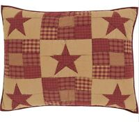 NINEPATCH QUILTED STANDARD SHAM : PRIMITIVE RED STAR RUSTIC TAN PILLOW COVER