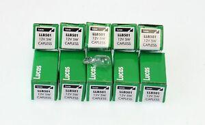 100x Genuine Lucas Capless Bulbs 501 LLB501 12v 5W Side Light Number Plate Bulb