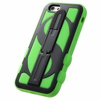 for APPLE iPhone 6 / 6S BLACK GREEN MONEY STAND SKIN COVER CASE + SCREEN FILM