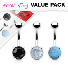 3pc NATURAL Precious STONES Steel BELLY Button NAVEL RINGS Body Piercing Jewelry
