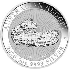 AUSTRALIE 2 Dollars Argent 2 Onces Nugget Hand of Faith 2020