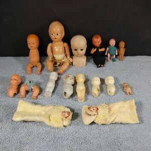 Lot of Antique Bisque Baby Dolls Parts Repair Japan K&H Miniature Kewpie Plastic