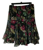 Lauren Ralph Lauren Women's Sz 4 Black Floral Ruffle Knee Length Side Zip Skirt