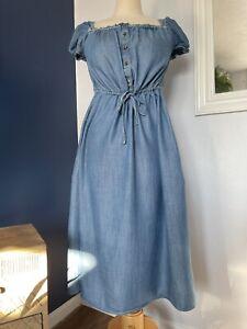 Marks & Spencer Chambray Light Denim Prairie Midi Dress UK Size 8