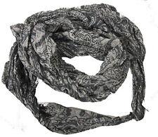 Schal Tuch Baumwolle und Seide grau  Paisley Muster Crash Schal