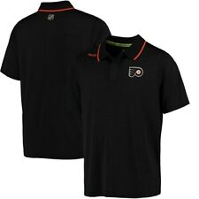 Reebok Men's NHL Philadelphia Flyers Center Ice Polo Shirt - Large - Black - New