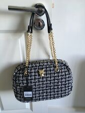 ROCCO BAROCCO Black and White Textile Handbag With Golden Chain Handless