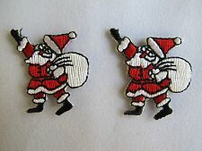 #2923 Lot 2Pcs Christmas Santa Claus w/Gift Bag Claus Embroidery Applique Patch