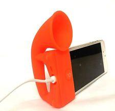 ARANCIONE Portable Silicon CORNO AMPLIFICATORE Loud Altoparlante Desk Stand Apple iPhone 5 5S