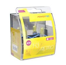 POWERTEC Retro H3 12V DUO YELLOW HEADLIGHT CAR BULB SET 12V 55W ;;;