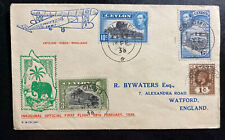 1938 Colombo Ceylon First Official Flight Airmail cover FFC To Watford England