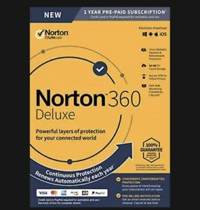 Norton 360 Deluxe Antivirus software for 5 Devices with Auto Renewal Protection