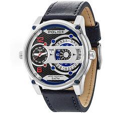 Orologio Police R1451279001 in pelle blu jay-d moda oversize uomo 5 atm