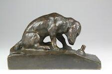 Bronze Klingelknopf Tischklingel Hund um 1930 bell push dog (698)