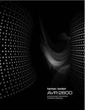Harman Kardon AVR2600 Receiver Owners Manual