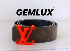 303dee3aaf05 LOUIS VUITTON By Virgil Abloh LV SHAPE Orange Buckle 40MM BELT Size 95
