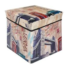 Pouf Ottoman Storage Cube Colapsible Busket with Removable Lid 12x12 Bin Cities
