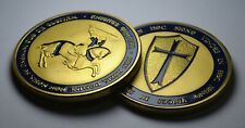 Large Masonic Knights Templar 24ct Gold Coin with Blue Enamel. Mason/Freemason
