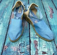 SPARTVS Carina Espadrille Wedge Heels Blue Canvas Pumps Women's Shoes Spain Made