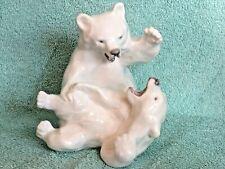 New listing Royal Copenhagen 1107 Vintage Polar Bears Fighting / Playing Figurine Denmark
