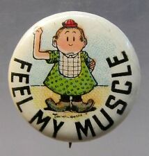 c.1910 Tom McNamara FEEL MY MUSCLE Hassan or Tokio Cigarettes pinback button *