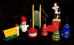 Vintage Wooden Christmas Ornaments - Snowman Cottage Sled Bell Drum Tree Mouse