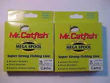 2 NEW MR CATFISH FISHING LINE 25 LB pound TEST  1000 YDS CAMO 2 x 500 yards