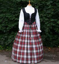 Ladies medieval / Victorian wench  3pc tartan  costume - fancy dress. black