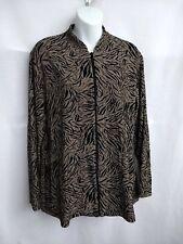 Chico's Travelers Size 2 Full Zip Up Jacket Top Black Gold Metallic Long Sleeves