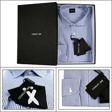 Mens CERRUTI Blue White Striped Cotton Spread Collar Dress Shirt 15 3/4 M 40 NIB