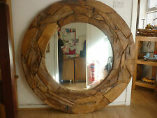 TEAK ROOT LARGE ROUND MIRROR FROM SUSTAINABLE FORESTS 150cmDIAMETER AT049G